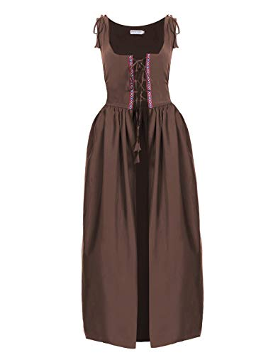 Anna-Kaci Womens Renaissance Medieval Irish Over Dress Costume,Brown,Medium