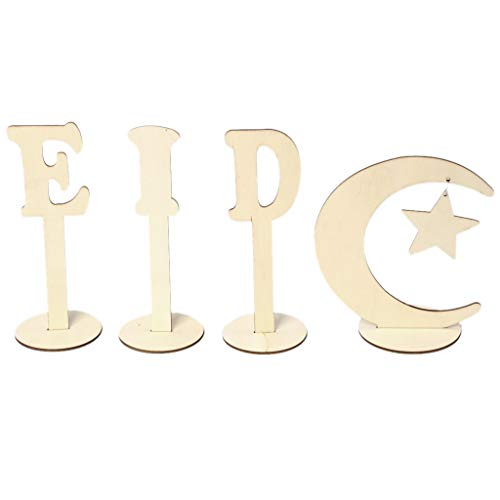 HEIYAO 4 Pcs/Set Wooden Craft Eid Mubarak Muslim Festival Art Crafts Desk Table Decoration Home Ornament Natural Wood DIY Letter Moon Star Stand Base