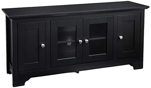 Rockpoint Plymouth 53-Inch Wood TV Stand Storage Console, Crow Black (Tv Black Wood Cabinet)