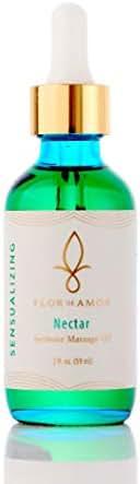 Nectar Sensual Botanical Body & Breast Massage Oil By Flor De Amor, Couples Massage Moisturizer, Vegan, High in Antioxidants, Plant Sourced, Paraben- Free