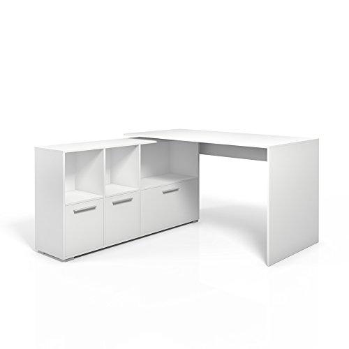 Eckschreibtisch Schreibtisch Winkelschreibtisch Computertisch Bürotisch Weiß oder Sonoma (Weiß)