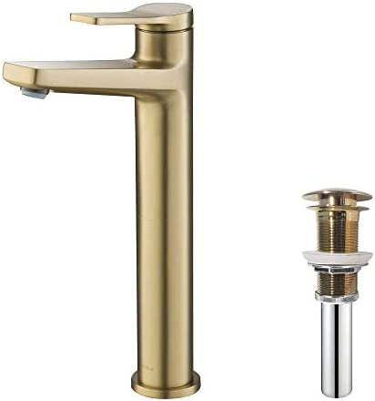 Kraus KVF-1400BG-PU-10BG Indy Single Handle Vessel Bathroom Faucet and Pop Up Drain, Brushed Gold