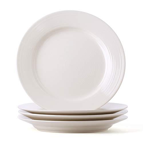 (LE TAUCI Ceramic Dinner Plate Set - 10 Inch for Breakfast, Dinner, Set of 4, Marshmallow White)