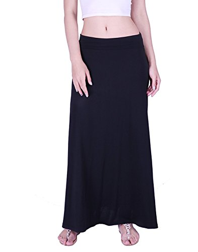HDE Women's High Waist Fold Over Elastic Long Summer Maxi Skirt (Black, Small)