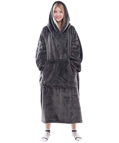 Waitu Wearable Blanket Snuggle Hoody Blanket for Adult and Child, Super Warm and Cozy Blanket Hoodie for Women and Men, Fleece Blanket with Sleeves and Giant Pocket - Dark Gray