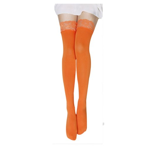 467f72fe45272 FUNOC Sexy Women Lace Top Thick Opaque Thigh High Stockings (Orange) - Buy  Online in Oman. | Apparel Products in Oman - See Prices, Reviews and Free  ...