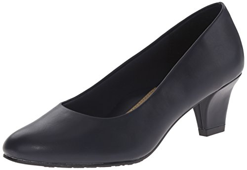(Soft Style by Hush Puppies Women's Gail dress Pump, Navy Leather, 9.5 N US)