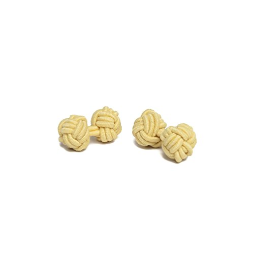 Jacob Alexander Pair of Solid Color Silk Knot Cufflinks - Yellow