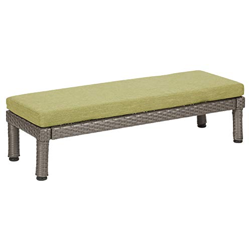 Wicker Toddler - ECR4Kids Petite Patio 10in Bench with Fast-Dry Cushion- All-Weather Plastic Wicker Kids Outdoor Furniture, Olive