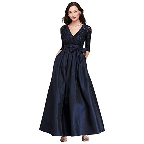 Lace Surplice Bodice Taffeta Ball Mother of Bride/Groom Gown Style JHDM5750, Navy, 18