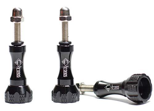 Thumb Metal Screws - Chronos Aluminum Alloy Metal GoPro Long Thumbscrew for GoPro Session, Hero 7, 6, 5, 4, 3+, 3, 2, 1 HD, Black
