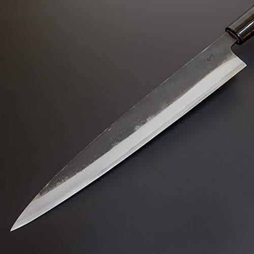 HONMAMON ''MOTOKANE Sashimi Hocho (Yanagiba Kitchen Knife) 210mm(ABT 8.3 Inch), Blade Edge : Aogami Steel 1'', Kurouchi, Double Bevel