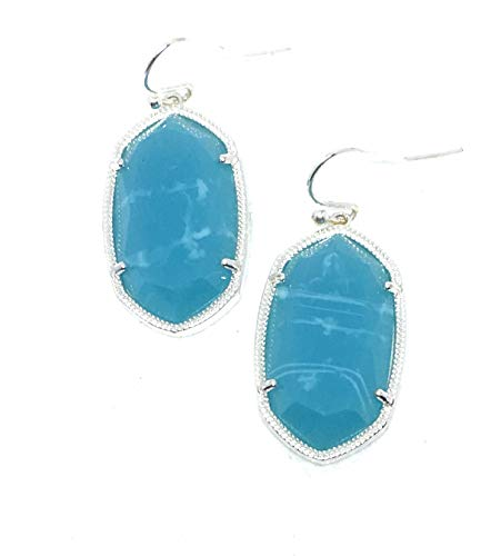 Inspired Fashion Jewelry Candy Color Oval Earrings in Silver or Gold Metal Tone in Crushed Blue Ocean (Silver Metal Tone)