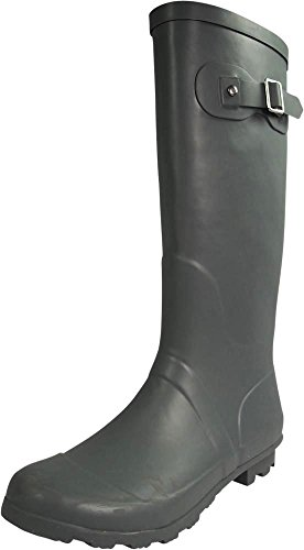 NORTY - Womens Hurricane Wellie Solid Gloss Hi-Calf Rain Boot, Matte Charcoal 39970-11B(M) US (Extra Wide Calf Boot)