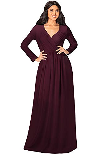 KOH KOH Womens Long Sleeve Sleeves Empire Waist Floor-Length Cocktail Elegant Evening Fall Modest Winter Formal Abaya Cute Gown Gowns Maxi Dress Dresses, Maroon Wine Red L 12-14