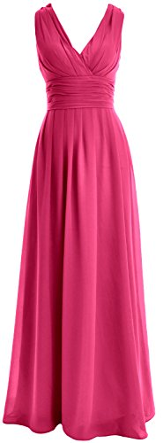 neck Long Wedding V MACloth Chiffon Women Fuchsia Bridesmaid Dress Gown Party Formal UIT4xEx