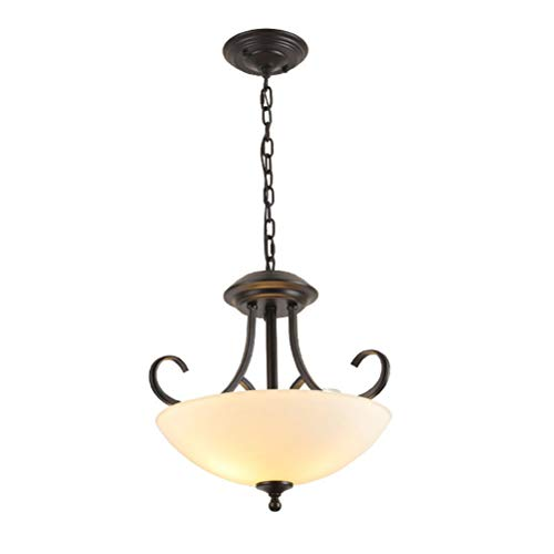 3-Lights Retro Round Petal Farmhouse Chandelier Vintage Clear Glass Shade Iron Art Pendant Ceiling Lamp Rustic Style Elements Edison Hanging Light for Kitchen Bar Hallway Hall Foyer Lighting Fixtures