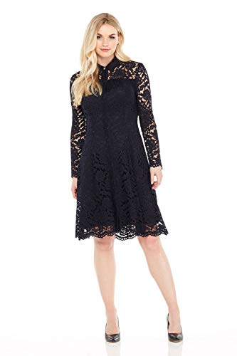 London Times Women's Long Sleeve High Neck Lace Fit & Flare Dress w. Collar, Navy, 8