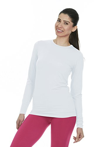 Adventure White T-shirt - Thermajane Women's Ultra Soft Thermal Shirt - Compression Baselayer Crew Neck Top - Fleece Lined Long Sleeve Underwear T Shirt (White, Large)