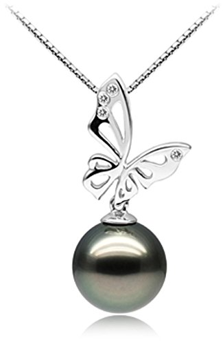 Diamonds 12mm Tahitian Pearl Pendant - PearlsOnly - Butterfly Black 11-12mm AAA Quality Tahitian 14K White Gold Cultured Pearl Pendant