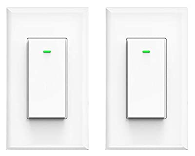 Smart switch, compatible with Alexa and Google Home, IFTTT, No hub required, timing synchronization, suit for 1/2/3/4 group type switch box Micmi (Smart light switch 2pack)