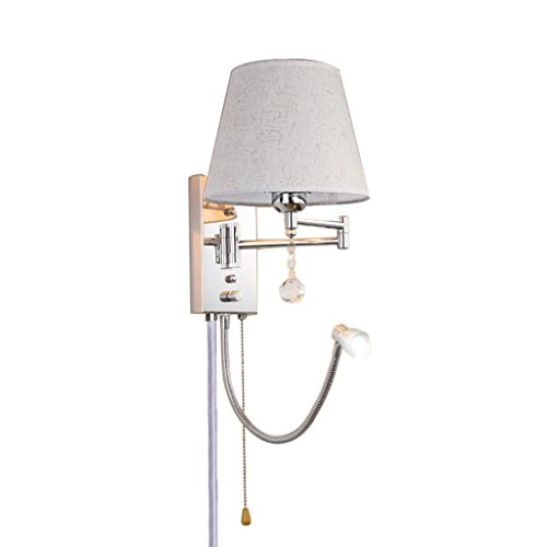 Color : Main Light dimming, Size : 30cm*22cm Dimming Wall Lamp Plug-in and Pull Chain Chrome Swing Arm Wall Sconce with Reading Light Bedside Bedroom Creative Learning Light Fixture,E27