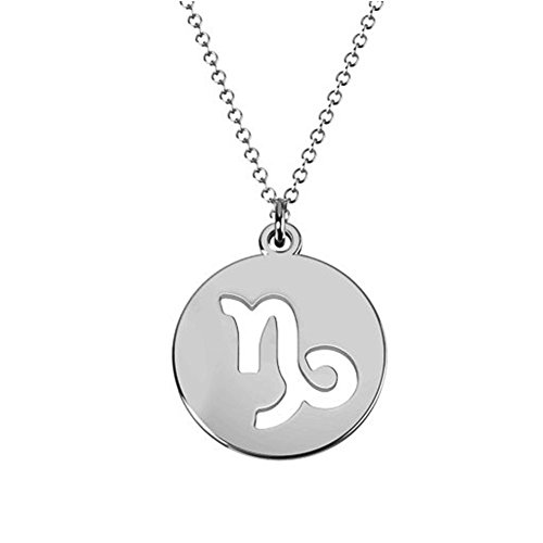 Ouslier 925 Sterling 12 Silver Zodiac Sign Tag Cut Out Disc Necklace 0.6