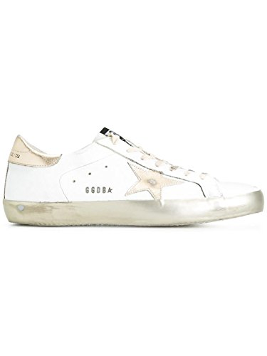 GOLDEN GOOSE HOMME G30MS590E37 BLANC/OR CUIR BASKETS
