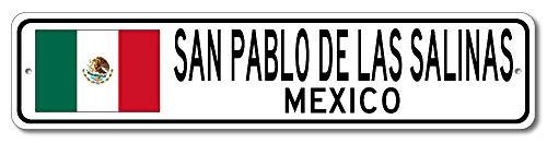 San Pablo De Las Salinas, Mexico - Mexican Flag Street Sign - Aluminum 4