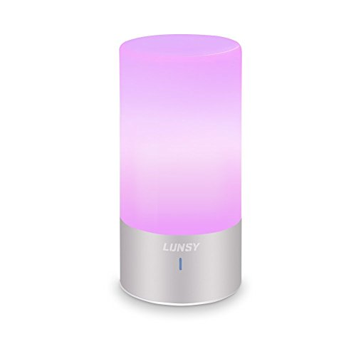 lunsy led table lamp, touch sensor bedside lamp, dimmable warm white light and color changing rgb lamps for living room&bedroom