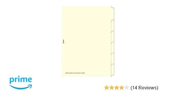 Filofax A5 6 Blank Index Cream B341680