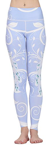 Jescakoo Women's Fitted Workout Athletic Pants Legging Retro Swirl Peacock Tail Print ()
