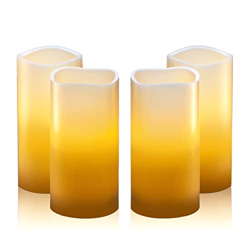 "Hayley Cherie - Real Wax Flameless Candles with Timer (Set of 4) - Ivory LED Candles 3"" wide x 6"" tall - Flickering Amber Flame - Battery Operated Pillar Candles - Large Unscented"