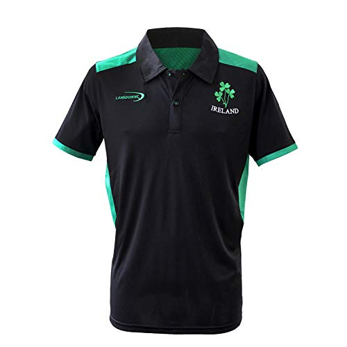 Carrolls Irish Gifts Black Ireland Performace Polo Shirt With Green Underarm and Trim Design (Irish Polo Shirt)