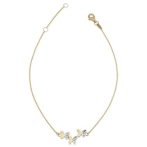 Kooljewelry 14k Two-tone Gold Butterfly Anklet (adjusts to 9 or 10 - Gold Tone Anklet Two