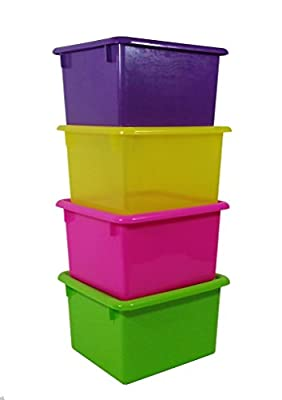 Romanoff - 4 Pack of Multi-Color Small Stowaway Shelf Boxes with Lids