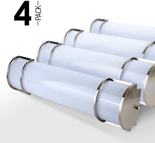 OSTWIN 18 4 Pack Dimmable LED Linear Bath Vanity Light Bar, Modern Bathroom Vanity Light Fixture 20W 5000K Daylight, Vertical or Horizontal Tube, Brushed Nickel Finish, ETL Energy Star Listed