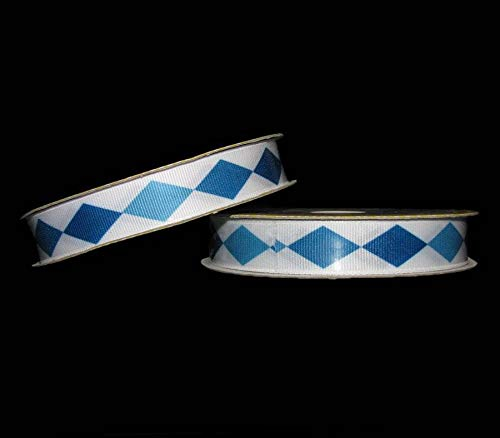 6 Yards Blue Shades Diamond Jester Grosgrain Ribbon 5/8