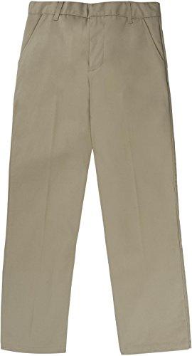 French Toast School Uniform Boys Adjustable Waist Flat Front Workwear Finish Double Knee Pants, Khaki, 10 Slim by French Toast
