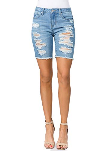 - TwiinSisters Women's Destroyed Hem Frayed Denim Shorts with Back Pockets Size Small to 3X