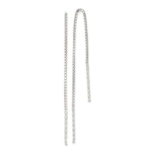 925 Sterling Silver Spiral Bar Tassel String Threader Earrings Drop Dangle Fine Jewelry Gifts For Women For Her