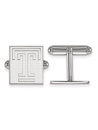 University Sterling Silver Cufflinks (Sterling Silver Men'S Temple University Cuff Links - 15x13mm)