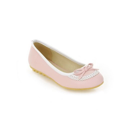 WeenFashion Women's Closed Round PU Toe Soft Material PU Round Solid Flats whith Bowknot, Pink, 4.5 B(M) US B00JJLUQPK Shoes 52ed76