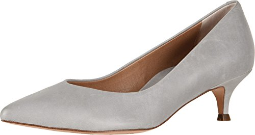 Vionic Women's Kit Josie Kitten Heels - Ladies Pumps with Concealed Orthotic Arch Support Light Grey Leather 7 M US (Standing Kitten)