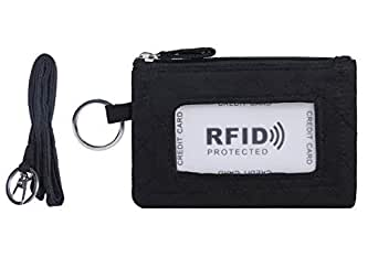 Zip ID Case and Lanyard/Coin Purse with Id Window & Key Ring - Black