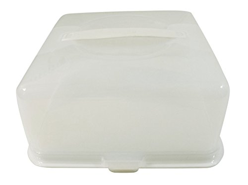 SQUARE LARGE CAKE BUNS PIE FOOD STORAGE PLASTIC TUB POT CARRIER BOX 33CM MADE IN UK