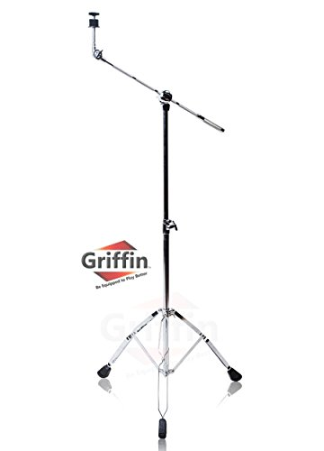 Cymbal Boom Stand by Griffin|Double Braced Drum Percussion Gear Hardware Set|Adjustable Height|Arm Holder With Counterweight Adapter for Mounting Heavy Duty Weight Crash and Ride Cymbals For Drummers from Griffin