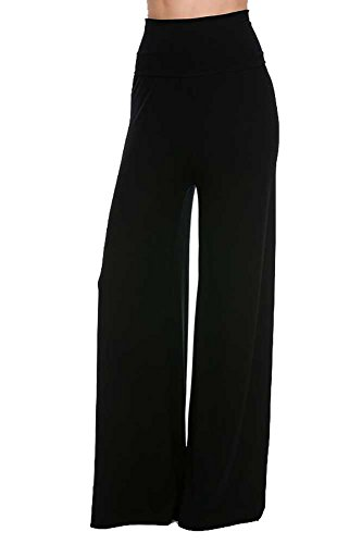 (Superline Solid Palazzo Pants 3X-large Black )