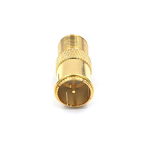 VCE 5-Pack Gold Plated RG6 F-Type Male to Female Quick Coax Coaxial Cable Connector Quick Push On Adapter