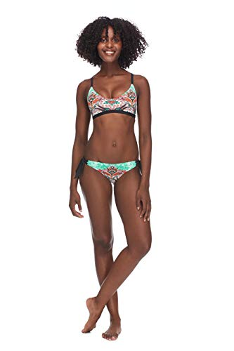 Skye Women's Katie Halter Bikini Top with Multi Strap Detail Swimsuit, Vivi Paisley Print, Large